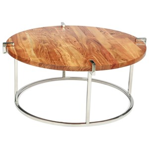 Round Cocktail Table in Glossy Acacia Finish