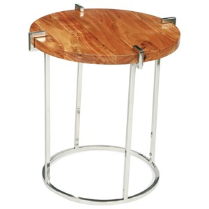 Round End Table in Glossy Acacia Finish