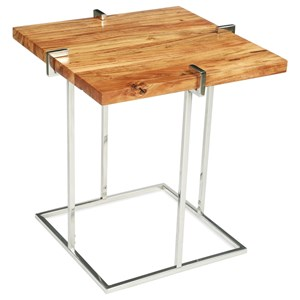 Square End Table in Glossy Acacia Finish