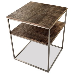 Contemporary Square End Table with Shelf