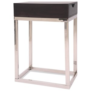 Contemporary 1 Drawer Chairside Table in Deep Brown