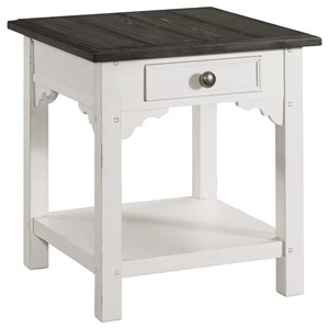 Cottage End Table with Top Drawer and Open Lower Shelf