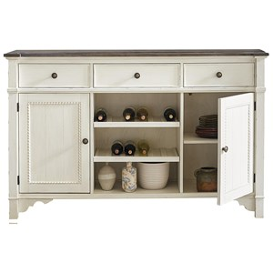 Cottage Buffet with Adjustable Shelving and Wine Storage