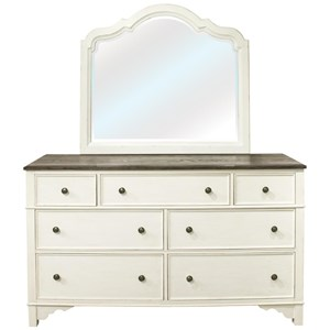 Cottage Dresser and Mirror Combination with 7 Drawers
