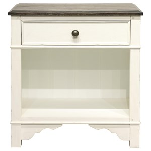 Cottage Nightstand with Felt-Lined Drawer and Open Shelving