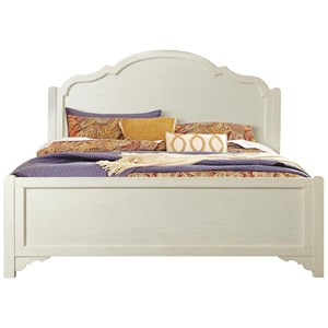 Cottage King Panel Bed with Decorative Hand-Chiseled Headboard