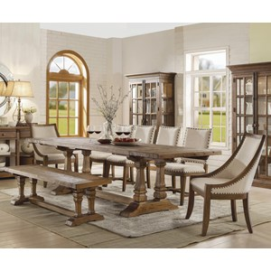 8 Piece Table and Chair Set with Dining Bench