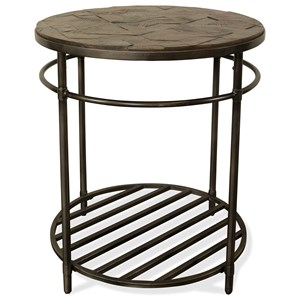 Rustic Round End Table with Reclaimed Top