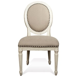 Upholstered Oval Side Chair with Nailhead Trim