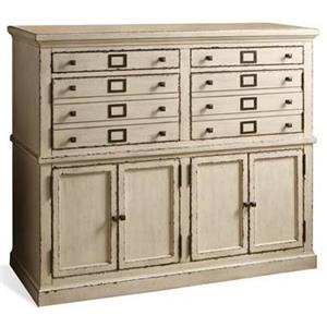 4 Drawer Server with Wine Glass and Bottle Storage