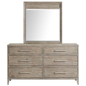 Contemporary Rustic Dresser and Mirror Set with Felt-Lined Top Drawers