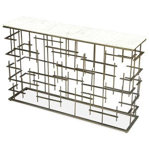 Contemporary Rectangular Marble Sofa Table with Metal Base
