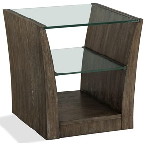 Rectangle End Table with Glass Top and Shelf