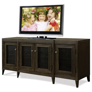 Entertainment Console with Woven Cane Doors