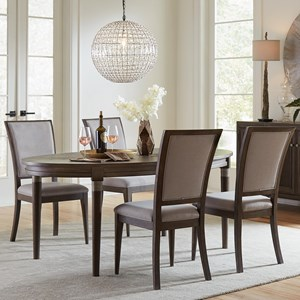 5 Piece Oval Dining Table and Upholstered Chair Set