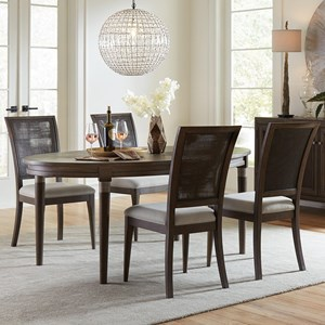 5 Piece Oval Dining Table and Woven Cane Chair Set