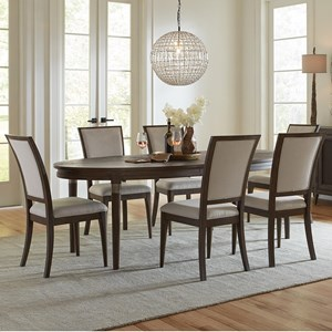 7 Piece Oval Table and Upholstered Chair Set