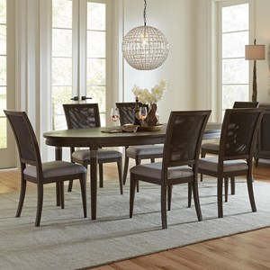 7 Piece Oval Table and Woven Cane Chair Set