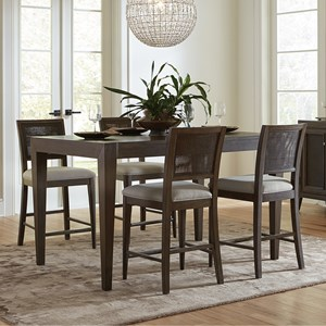 5 Piece Gathering Height Table and Woven Cane Chair Set