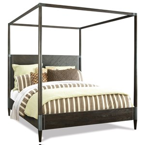 King Canopy Bed with Metal Accents