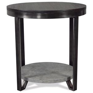 Industrial Round End Table with Faux Concrete Shelf