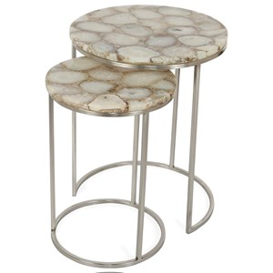 Glam 2 Piece Nesting End Table with Agate Top