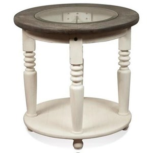 Round End Table with Beveled-Edge Glass Insert