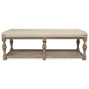 54-In Upholstered Dining Bench with Shelf