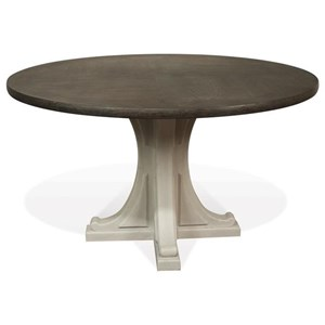 Round Pedestal Dining Table in Two-Tone Finish