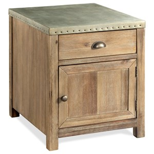 Industrial End Table with Metal Top