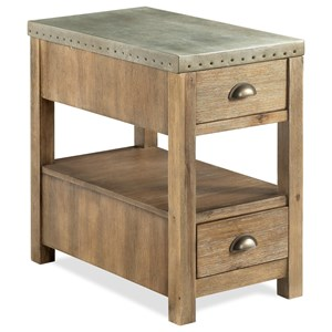 Industrial Two Drawer Chairside Table with Metal Top