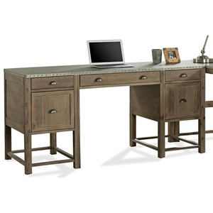 Industrial Writing Desk with Drop Front Keyboard Drawer and File Storage