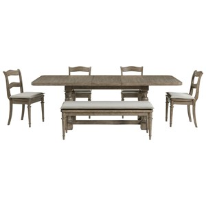 Transitional Six-Piece Formal Dining Set with Bench