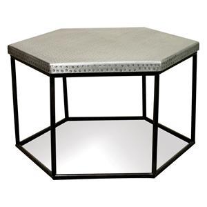 Hammered Metal Hexagon Coffee Table