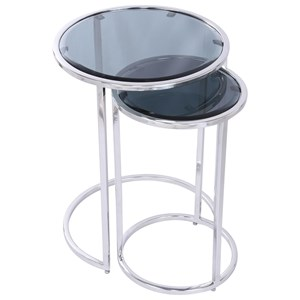 2pc Round Nesting End Table with Black Glass Tops