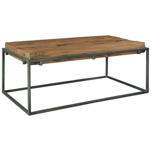 Industrial Rectangle Coffee Table with Reclaimed Wood Top