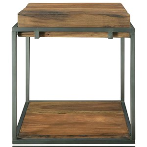 Industrial Square Side Table with Reclaimed Wood Top