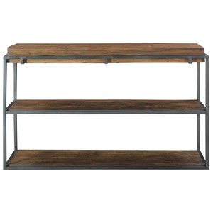 Industrial Sofa Table with Reclaimed Wood Shelves