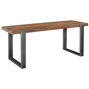 Industrial Dining Bench with Wood Seat