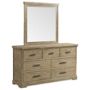Seven-Drawer Dresser with Landscape Mirror