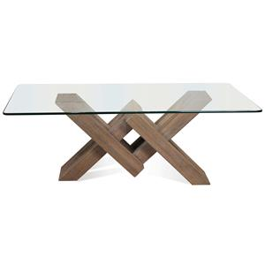 Glass Top Coffee Table with Geometric Base