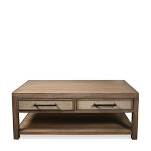 2 Drawer Coffee Table with Woven Cane Drawer Fronts