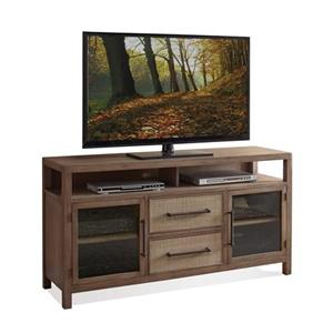 Entertainment Console with Woven Cane Drawer Fronts