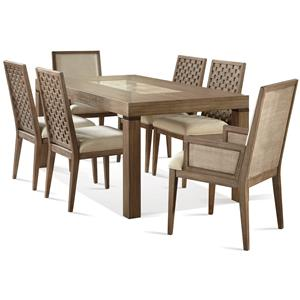 7 Piece Marble Insert Table and Lattice Back Chair Set