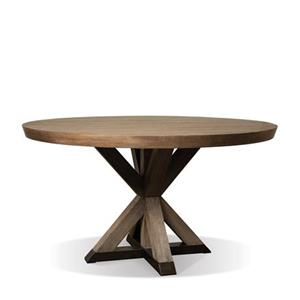 Round Dining Table with Geometric Pedestal Base