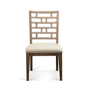 Curved Lattice Back Upholstered Side Chair