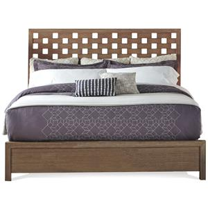 King Panel Bed with Square Cutout Style Headboard