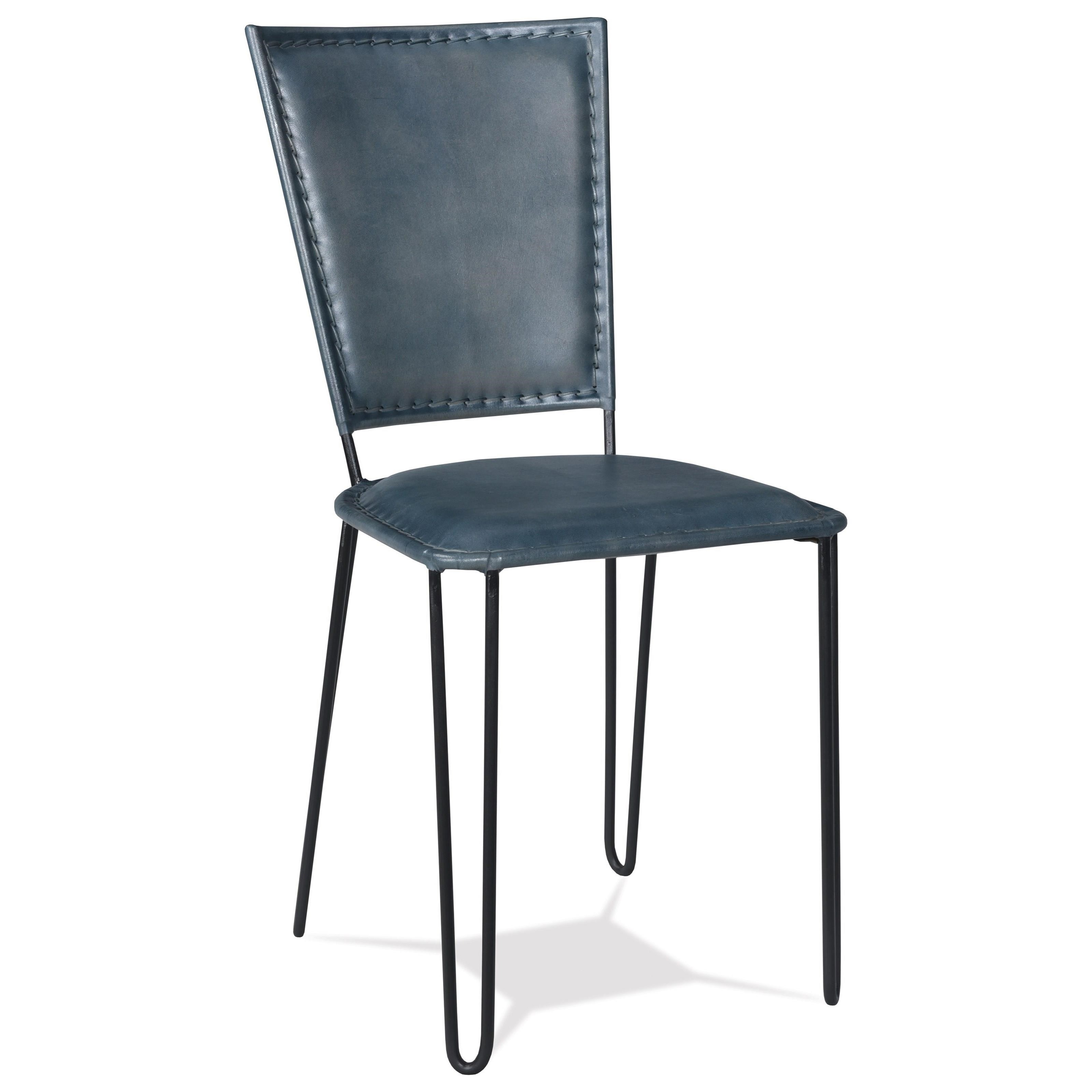 Blue Leather Side Chair