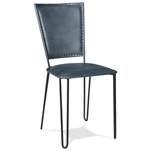 Retro Modern Blue Leather Side Chair