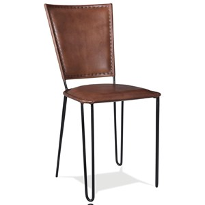Retro Modern Camel Leather Side Chair